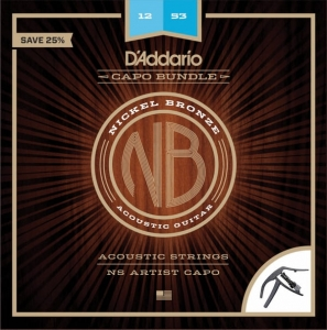 Struny D'Addario NB1253 NICKEL BRONZE  LITE git. akustyczna + kapodaster Planet Waves